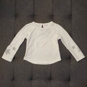 White Long Sleeve Thermal Top with Stars